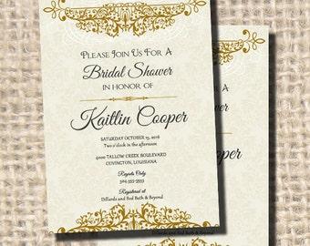 1920s Fancy Elegant Vintage Damask Gold Ivory Bridal Shower Invitation, Wedding Invitation, Party Invitation, Digital Printable