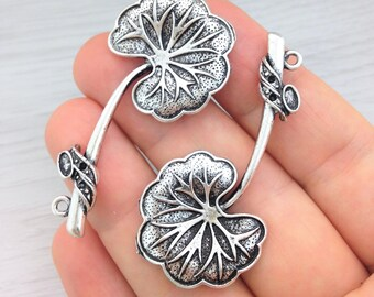 Lily Pendants, Lily Pad Pendant, X2, Antique Silver, Leaf Pendants, Nature Charms, CH195