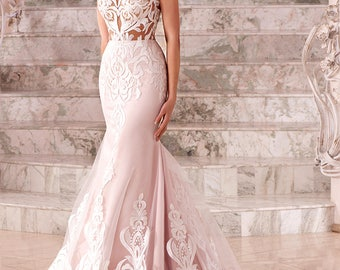 Blush Boho Vintage Inspired Fully Lace Mermaid Wedding Dress,Bohemian Style,Open Cutout Back,Tulle Skirt Lace Embellished,long lace train