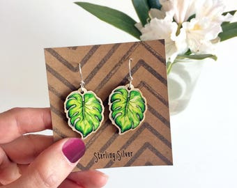 Monstera Leaf Earrings, tropical cheese plant leaves charms, laser cut wood and Sterling Silver, ideal summer gift for friend, bridesmaid