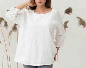 White linen top. Oversized loose fitted linen shirt. Stonewashed flax tunic. Pure linen blouse. White womens top. Linen clothing for women.