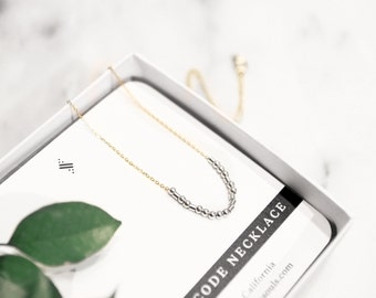 CUSTOM Morse Code Necklace | Unique Birthday Gift for Mother, Sister, Aunt, Girlfriend, Wife, Daughter-Gold Fill & Silver |'Maggie' Necklace