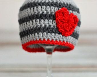 Valentine's Day Hat - Newborn Boy Hat - Boy Hat - Valentine's Boy Hat - Valentine's Hat - Boy Hat - Newborn to adult Sizes!