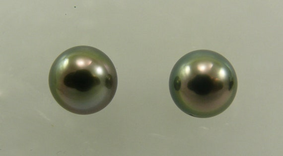 Tahitian 11.3mm Black Pearl Stud Earring 14K White Gold