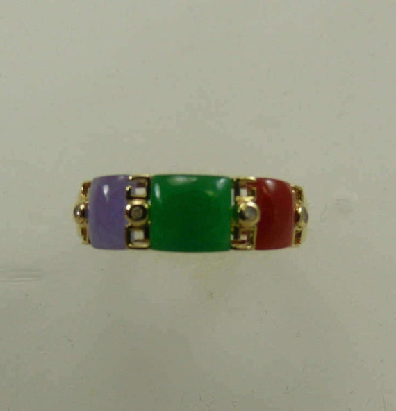Multi-Color Jade 6.4 x 6 mm Ring With 14k Yellow Gold and Diamonds 0.02ct