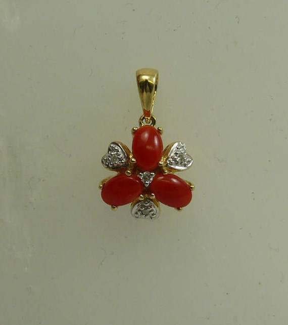 Italian Coral Pendant with Diamonds 0.04ct 14k Yellow Gold