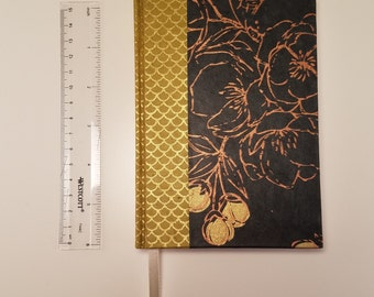 Handmade blank sketch journal in midnight navy floral and dark yellow