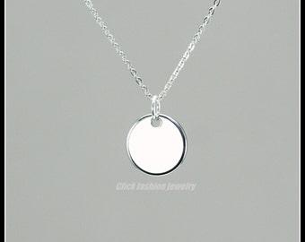 Disk necklace, silver disk necklace, silver circle necklace, personalized disk necklace, silver round pendant, birthday gift