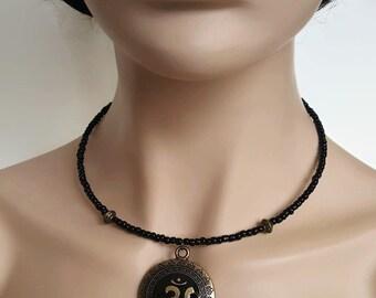 Antique Bronze Om Necklace - Om Necklace - Om Jewelry - Zen Necklace - Sacred Necklace - Spiritual Necklace - Yoga Necklace - Om Choker
