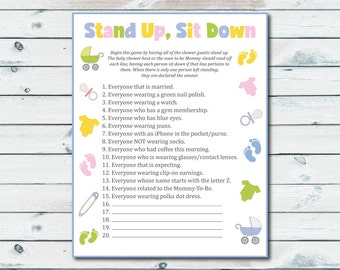 Stand Up Sit Down Baby Shower Game, Printable Stand Up Sit Down Game, Baby Shower Games Printable, Gender Neutral Printable Shower Activity