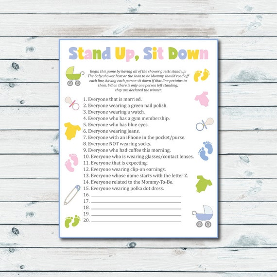 stand up sit down baby shower game printable stand up sit down game baby
