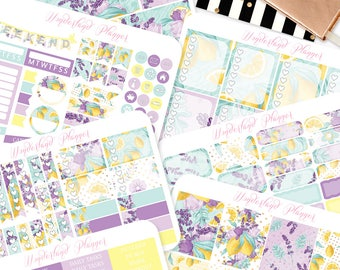 Lemons into Lemonade - Summer Fruits Themed Planner Sticker Kit // 180+ Stickers // Perfect for Erin Condren Vertical Life Planner