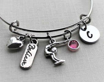 gymnastics bracelet, gymnastics bangle, personalized gymnastics bracelet, gymnastics gift, gymnastics charm bracelet,gymnastics theme bangle