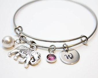 elephant bracelet, personalized elephant bracelet, elephant charm bracelet, elephant bangle, elephant initial bracelet, elephant theme gift