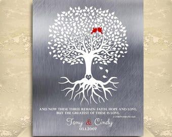 Personalized Tin 1 Corinthians 13:13 Family Tree Faux Tin Background 10 Year Tin Anniversary Gift Wedding Tree Custom Metal Art Print #1216