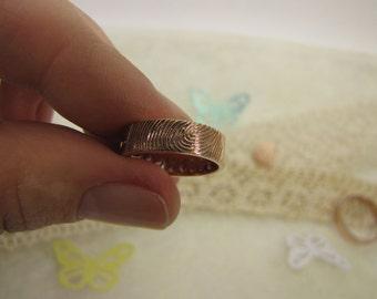 Personalised Ring-Fingerprints Ring-Unique Wedding Ring-Wedding Bend-Memorial Ring-Custom Order Ring-Gold Ring-Precious Wedding Ring