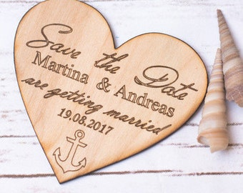 Nautical Save the date Anchor Engraved Save the date cards Wood Save the date Personalized Nautical Wedding invitations
