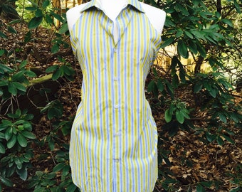 Striped Cotton Apron in Green Blue and White Stripe Pattern- Upcycled Men's Dress Shirt Apron- Repurposed Men's Shirt Apron