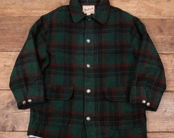 "Mens Vintage Woolrich Quilt Lined Plaid Check Overcoat Green L 46"" R4851"