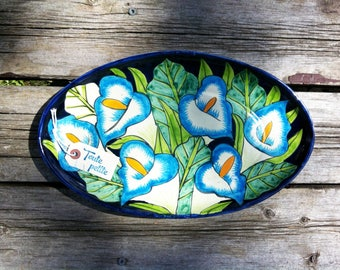 """Vintage 1980's Talavera 15"""" Oval Hand Painted Hibiscus Flower Platter, Vintage Mexican Majolica Plate, Talavera Pottery, Ceramic Wall Plate"""