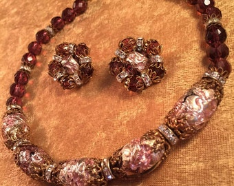 Beautiful Hobé Demi of Lavender Purple Pink Artglass Textured Beads, Floral Caps (Necklace & Earrings) - Lovely for Spring! Heavy! 1074
