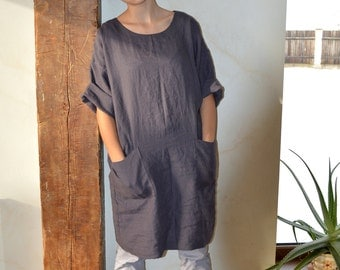 Pure Linen tunic - Brownish eggplant Linen dress with two pockets - High-quality linen kimono - Comfortable casual tunic  - Loose tunic