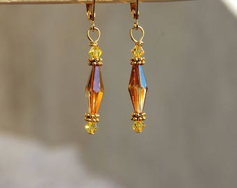 Swarovski Crystal Earrings, Topaz Citrine Earings, November Birthstone, Gold earrings, Brown Drop Dangle, Gift for her, Earth tones jewelry