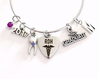 RDH Graduation Gift for Dental Hygienist Jewelry Charm Bracelet Bangle 2016 2017 2018 Registered Oral Tooth School Student Silver Graduate