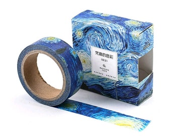 Starry Night, Van Gogh Inspired Washi Tape, Rolling Blue Sky, Deco Art Sticker Tape