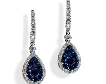 Sapphire Earrings, Dangle Sapphire Earrings, White Gold and Sapphire Earrings, Sapphire and Diamond Earrings, 18k Gold Earrings