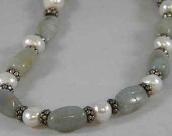 OOAK Tumbled Aquamarine, Freshwater Pearl and Sterling Silver Beaded Necklace