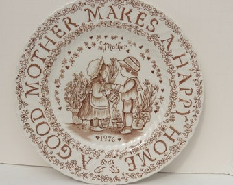 A Good Mother Plate 1976 Brown, Norma Sherman Plate, Royal Crownford Plate, 1976 Mother's Day Plate