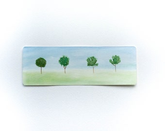 hand painted watercolor bookmark laminated unique paper bookmark minimalist landscape painting bookmark handmade bookmark bookworm gift