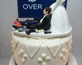 GAME OVER PlayStation Funny Wedding Cake Topper Video Game Groom's (Can Personalize Your Names) Gamer Gaming Junkie Brown Hair Awesome SALE