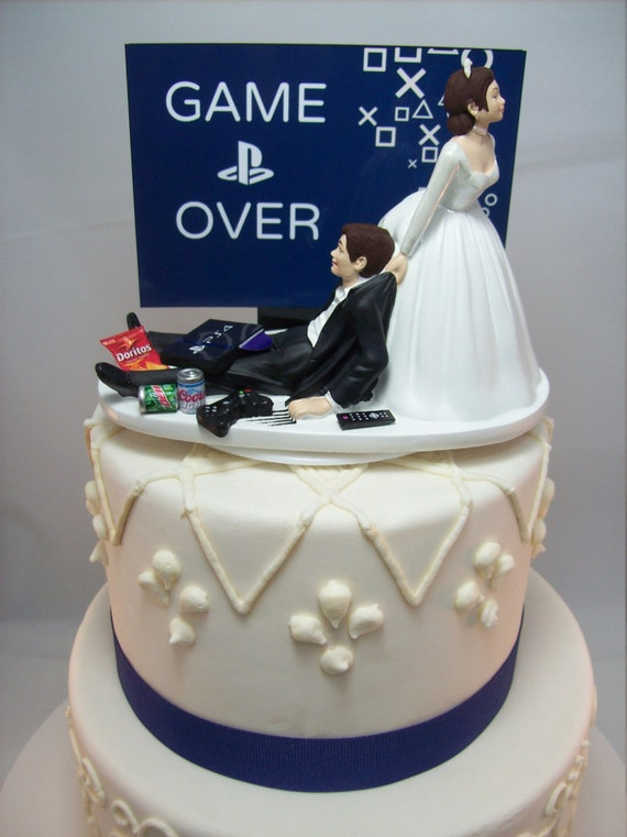 game over playstation funny wedding cake topper video game. Black Bedroom Furniture Sets. Home Design Ideas
