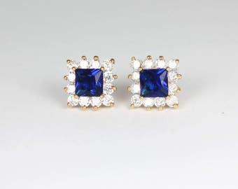 Blue Sapphire Earrings 14K Yellow Gold-Filled / Sapphire Earrings Studs / Sapphire Jewelry