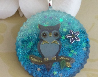 Glitter Resin Owl Pendant, Necklace, Keychain, Jewelry