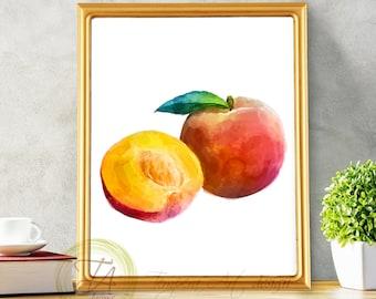 Peach, Fruit Print, Peach Art Decor, Peach Watercolor, Peach Poster, Peach Print, Printable Peach, Peach Wall Art, Peach Art, Kitchen Peach