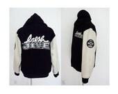 Vintage FRESHJIVE wool leather varsity jacket white black  heavy hoodie coat coach