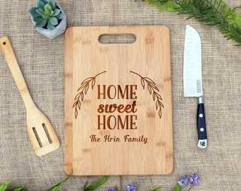 Home Sweet Home Cutting Board w/ Family Last Name, Personalized, Cheese Board, Custom, Housewarming, Real estate, Closing Gift, Realtor