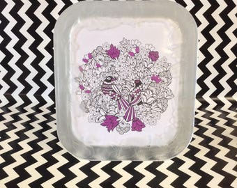 Love in Bloom~Frosted Crystal Frame~8x10~Birds and Flowers Design~Crystal Clear Signatures~Wedding Frame~B4