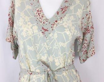 Vintage Dolman Sleeve Floral Dress    1970's V-Neck Summer Dress    Drapey Silk Floral Print