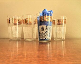 4 Juice Glasses, Orange Juice Glasses, Mid Century Juice Glasses, Libbey Juice Glasses, White with Gold Trim Glasses, Small Libbey Glasses