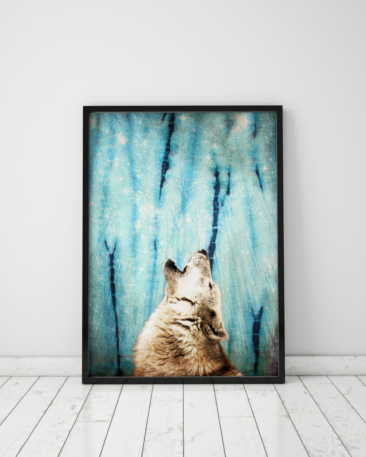 Wolf Poster Night Sky Print Wolf Print Teen Boy Wall Art Wolf