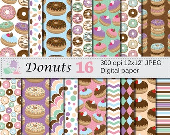 Donuts Digital Paper Set, Pastel Chocolate Donut Digital Papers, Sprinkled Donuts, Glazed Donuts, Doughnut papers, Instant Digital Download