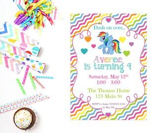 Rainbow Birthday Party Invitation, Birthday Party Invite, Rainbow Dash Party, PRINTABLE Birthday Party Invitation, Rainbow Birthday Party