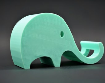 Elephant Phone Stand with Charger Slot 3D Printed