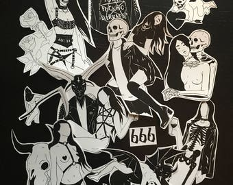 Total Darkness Stickers / Punk Goth Occult Fetish Death Satan Baphomet Bondage / Sticker Pack
