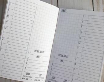 DAILY + Fitness Tracker Pocket Traveler's Notebook Planner Insert [40 DAYS]