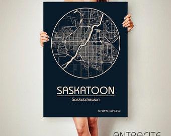 SASKATOON Saskatchewan CANVAS Map Saskatoon Canada Poster City Map Art Print Saskatoon poster Saskatoon map art Poster Saskatoon map